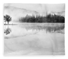 Misty Morning At Loch Ard Fleece Blanket