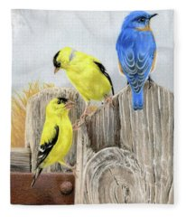 Misty Morning Meadow- Goldfinches And Bluebird Fleece Blanket