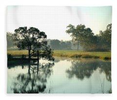 Misty Morning Pond Fleece Blanket