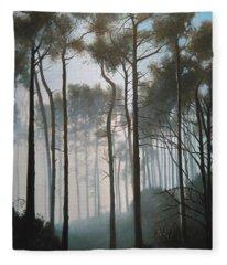 Misty Morning Walk Fleece Blanket