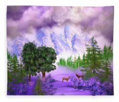 Misty Mountain Deer Fleece Blanket