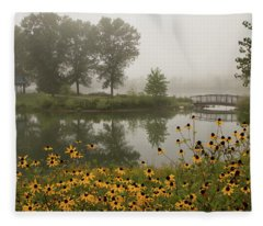 Misty Pond Bridge Reflection #3 Fleece Blanket
