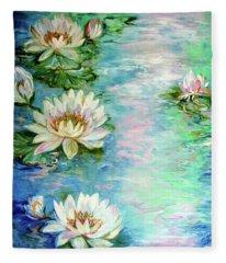 Misty Waters Waterlily Pond Fleece Blanket