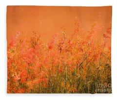 Misty Yellow Hue- Pink Blooms Fleece Blanket