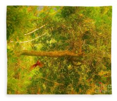 Misty Yellow Hue- Ringed Kingfisher In Flight Fleece Blanket