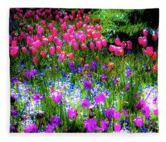 Mixed Flowers And Tulips Fleece Blanket