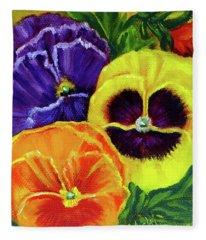Mixed Pansies Fleece Blanket