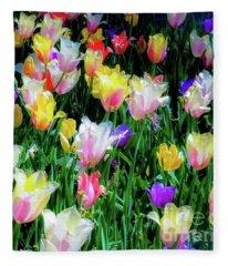 Mixed Tulips In Bloom  Fleece Blanket
