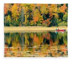 Mn Fall Fishing Fleece Blanket