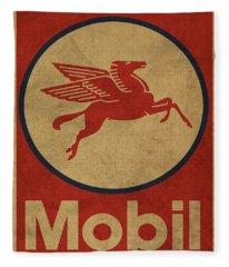 Mobil Oil Gas Station Sign Vintage Art Fleece Blanket