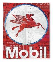 Mobil Oil Gas Station Vintage Sign Recycled License Plate Art Fleece Blanket
