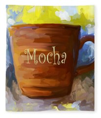 Mocha Coffee Cup Fleece Blanket
