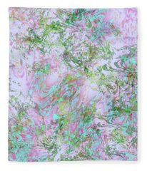Mock Floral Purple Teal Fleece Blanket