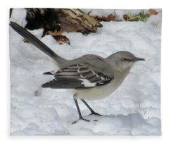 Mockingbird In The Snow Fleece Blanket