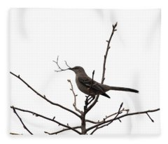 Mockingbird With Twig Fleece Blanket