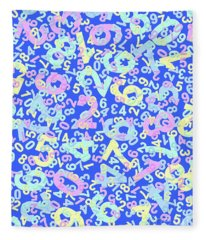 Modern Design With Random Colorful Numbers With Shadow Edges On A Blue Background  Fleece Blanket