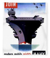 Modern Mobile Mighty Navy Fleece Blanket
