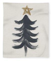 Modern Primitive Black And Gold Tree 1- Art By Linda Woods Fleece Blanket