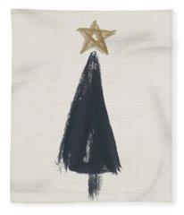 Modern Primitive Black And Gold Tree 3- Art By Linda Woods Fleece Blanket
