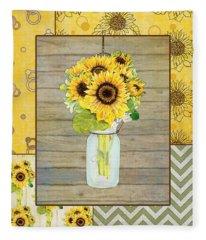 Modern Rustic Country Sunflowers In Mason Jar Fleece Blanket