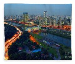 Modern Sao Paulo Skyline - Cidade Jardim And Marginal Pinheiros Fleece Blanket