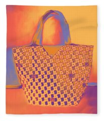 Modern Shopping Bag Fleece Blanket