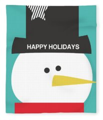 Modern Snowman Happy Holidays- Art By Linda Woods Fleece Blanket