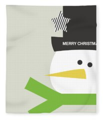 Modern Snowman Merry Christmas- Art By Linda Woods Fleece Blanket