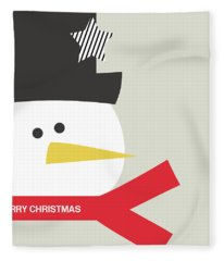 Modern Snowman Merry Christmas Red- Art By Linda Woods Fleece Blanket
