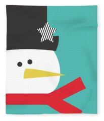 Modern Snowman With Star- Art By Linda Woods Fleece Blanket