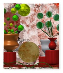 Modern Still Life With Abstract Flowers Fleece Blanket