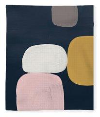 Modern Stones Navy 2- Art By Linda Woods Fleece Blanket