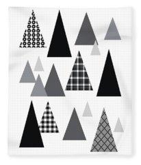 Modern Triangle Trees- Art By Linda Woods Fleece Blanket