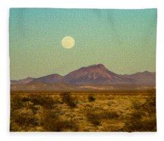 Mohave Desert Moon Fleece Blanket