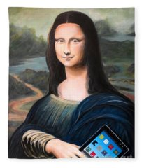 Mona Lisa With Ipad Fleece Blanket
