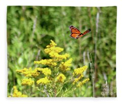 Monarch And Goldenrod Fleece Blanket