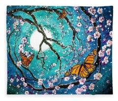 Monarch Butterflies In Teal Moonlight Fleece Blanket