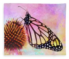 Monarch Butterfly On Coneflower Abstract Fleece Blanket