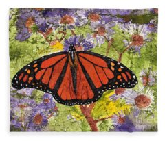 Monarch Butterfly On Purple Flowers Watercolor Batik Fleece Blanket
