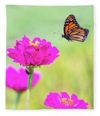 Monarch In Flight 1 Fleece Blanket