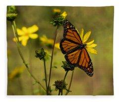 Monarch In The Garden - Horizontal Fleece Blanket