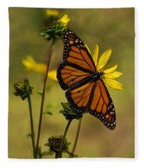 Monarch  In The Garden - Vertical Fleece Blanket