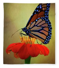 Monarch On A Mexican Sunflower Fleece Blanket