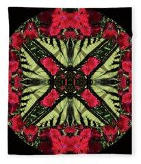 Monarch On Dianthus Kaleidoscope Fleece Blanket