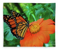 Monarch On Mexican Sunflower Fleece Blanket