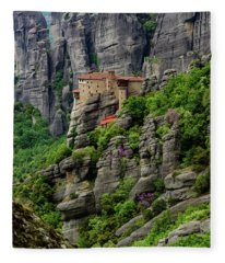 Monastery Of Saint Nicholas Of Anapafsas, Meteora, Greece Fleece Blanket
