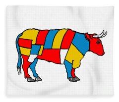 Mondrian Cow Fleece Blanket
