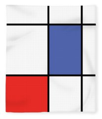 Mondrian Style Minimalist Pattern In Blue And Red Fleece Blanket