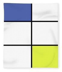 Mondrian Style Minimalist Pattern In Blue And Yellow Fleece Blanket