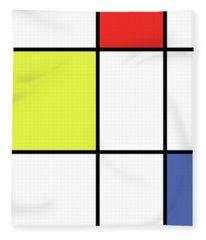 Mondrian Style Minimalist Pattern In Blue, Red And Yellow 01 Fleece Blanket